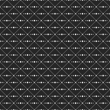 interior decoration: Seamless monochrome minimalistic pattern. Repeating geometric rhombuses with line from circles inside. Dots in nodes. Dots on the corners of rhombuses. Modern stylish texture. Vector background. Illustration