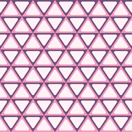 Seamless abstract geometric pattern with triangles. Symmetry arranged triangles with rounded corners. Retro colors. Vector background. Illustration