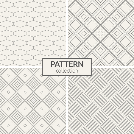 Set of four seamless patterns. Abstract geometric trendy vector backgrounds.