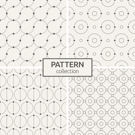 Set of four seamless patterns. Abstract geometric trendy vector backgrounds. Modern stylish textures of symmetrically arranged circles, curved lines with dots in nodes. Linear style. Ilustrace