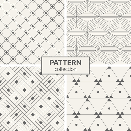 Set of four seamless patterns. Abstract trendy vector backgrounds. Modern stylish textures of regularly repeating rhombuses, lines, triangles, dots inside triangles. Symmetric geometric ornament. Иллюстрация