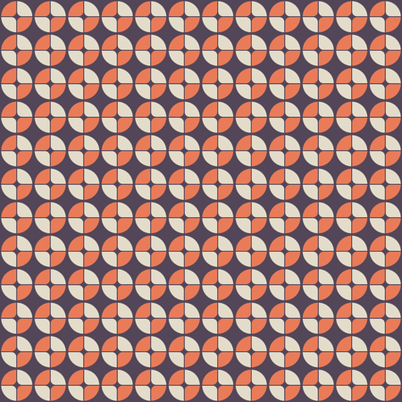 Abstract geometric pattern in retro style. Modern stylish circle texture. Circles, divided into four parts. Fashion style, trendy fabric, template, layout for design. Vector background. Illustration