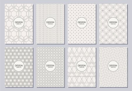 Set of flyers, posters, banners, placards, brochure design templates A6 size. Graphic design templates for logo, labels and badges. Abstract geometric backgrounds. Linear style. Retro Backgrounds.