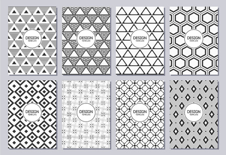Set of flyers, posters, banners, placards, brochure design templates A6 size. Graphic design templates for logo, labels and badges. Abstract geometric backgrounds. Retro Backgrounds.