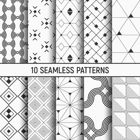 Set of ten seamless patterns. Abstract geometrical trendy vector backgrounds. Fashion design. Modern stylish textures with triangles, dots, rhombuses, squares, wavy lines. Repeating geometric shapes. 向量圖像