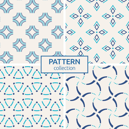 Set of four vector seamless patterns. Abstract geometric trendy color backgrounds. Modern stylish textures of curved lines, twisted elements,  rhombuses. Regularly repeating geometric ornaments. Illustration