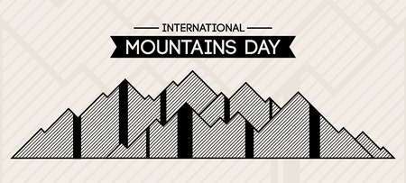 International Mountain Day vector illustration. Mountains in abstract linear style. Greeting card. Flat design. Suitable for t-shirt, poster, banner, badge, emblem, sticker, placard. Ilustração