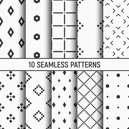 Set of ten seamless patterns with Abstract geometrical trendy vector backgrounds
