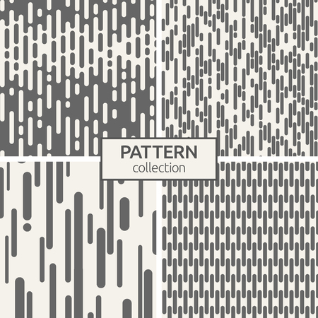 Set of four seamless patterns. Abstract geometric trendy vector backgrounds. Modern stylish textures of irregular rounded lines. Contemporary graphic design.