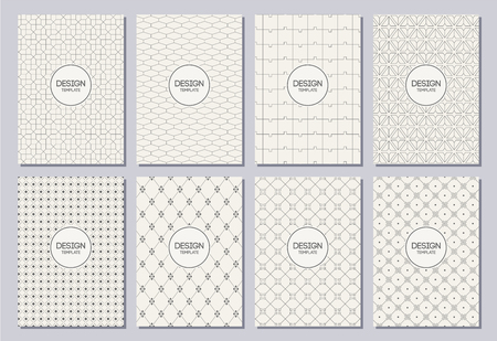 Set of flyers, posters, banners, placards, brochure design templates A6 size. Graphic design templates for labels and badges. Abstract geometric backgrounds.