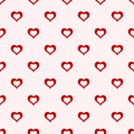 Valentines day background. Abstract vector seamless pattern of red hollow hearts on light baclground. Stylish geometric texture. Love romantic theme. Design for decoration, gift paper, textile. Illustration