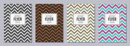 Set of flyers, posters, banners, placards, brochure design templates A6 size. Zigzag lines. Graphic design templates for logo, labels and badges. Abstract geometric backgrounds. Retro Backgrounds.
