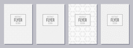 Set of flyer, posters, banners, placards, brochure design templates A6 size. Graphic design templates for icon, labels and badges. White and gray geometric textures. Abstract geometric backgrounds.