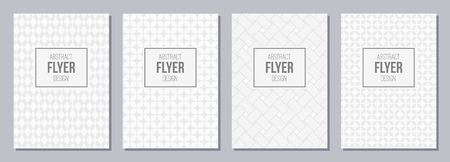 Set of flyer, posters, banners, placards, brochure design templates A6 size. Graphic design templates for labels and badges. White and gray geometric textures. Abstract geometric backgrounds.