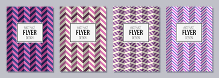 Set of flyers, posters, banners, placards, brochure design templates A6 size. Zigzag lines. Graphic design templates for icon, labels and badges. Abstract geometric backgrounds. Retro Backgrounds. Illustration
