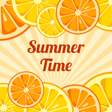 Summer Time background with slices of lemon and orange. Design for greeting cards, invitations, announcements, advertisements. Fruits bright composition. Sunny background. Vector illustration.