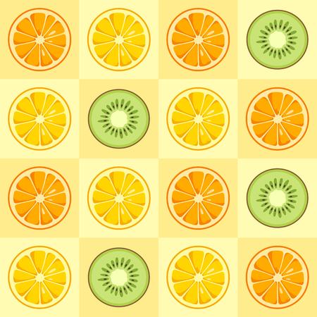Lemon, orange, kiwi slices seamless pattern. Citrus fruit background. Cute style. Summer bright colors, juicy fresh background, design elements. Tasty summer background. Vector color illustration.