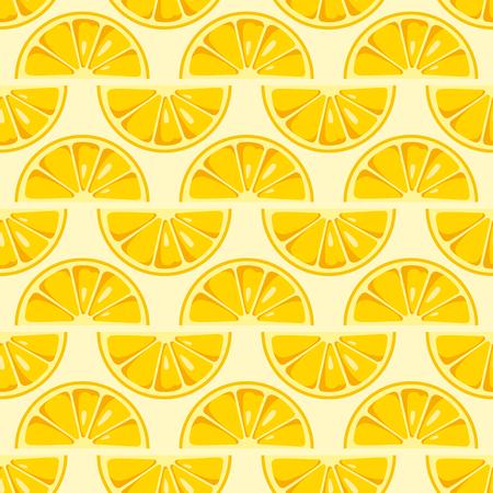 Lemon slices seamless pattern. Cute yellow lemon slices. Citrus fruit background. Summer bright colors, juicy fresh background, design elements. Tasty summer background. Vector color illustration.