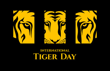 International Tiger day. Triptych depicting parts of the face of a tiger. Logo template. Emblem design. Isolated artwork object. Suitable for and any print media need. Vector color illustration.