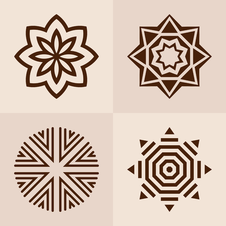 Abstract symmetric geometric shapes, symbols for your design. Vector set of logo design templates and emblems. Geometric signs collection isolated on light background. Vector color illustration.
