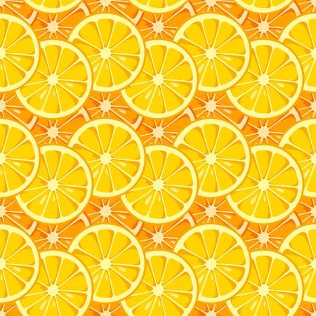 Lemon and orange slices seamless pattern. Yellow and orange colors. Citrus fruit background. Summer bright colors, juicy fresh background. Tasty summer background. Vector color illustration. 矢量图像