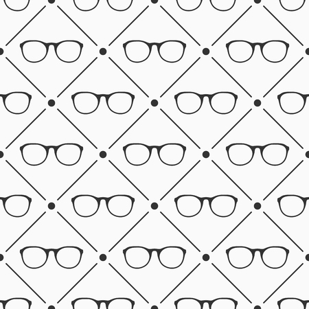 Glasses seamless pattern. Retro style. Flat hipster style. Can be used for wallpaper, pattern fills, web page backgrounds. Vector monochrome illustration.