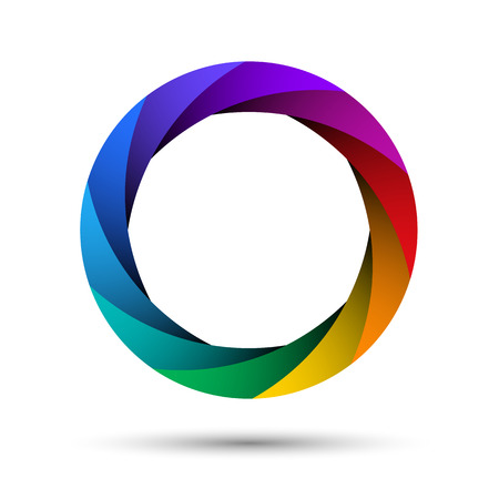 Colorful camera shutter aperture. Abstract shape, infinite loop icon. Infographic example. Multicolor ring isolated on white background.  イラスト・ベクター素材