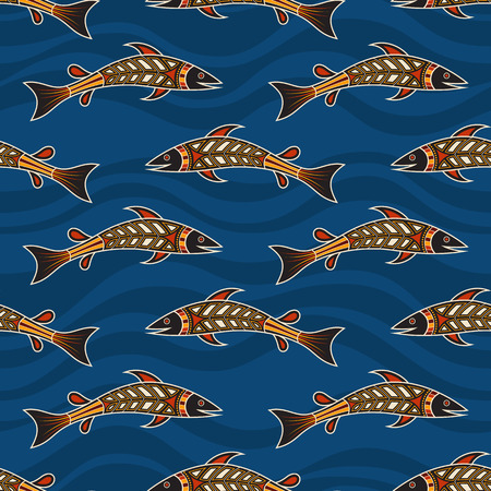 Seamless pattern of fishes with abstract waves on background. Australian art. Aboriginal painting style. Vector color background.