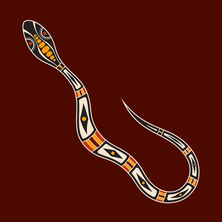 Serpiente. Estilo de arte aborigen. Ilustración de color vectorial aislado sobre fondo marrón. Ilustración de vector