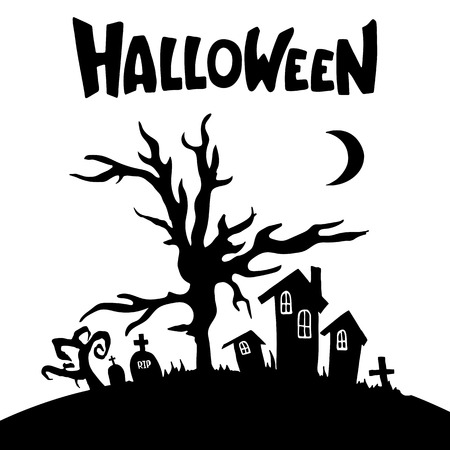 Houses, trees, tombs, crosses, moon silhouettes. Black and white cartoon shapes on Halloween theme. Isolated on white background. Vector illustration.