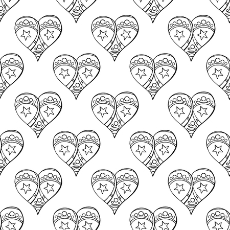 Seamless festive pattern with hand-drawn christmas gingerbread hearts. Endless traditional texture for Christmas design, fabrics, wallpapers, greeting cards, wrappings. Vector monochrome illustration.