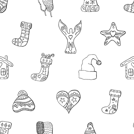 Seamless festive pattern with traditional Christmas symbols and decoration. Endless traditional texture for Christmas design, fabrics, greeting cards, wrappings. Vector monochrome illustration. Ilustrace