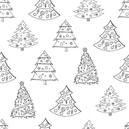 Seamless festive pattern with hand-drawn Christmas trees. Firs. Endless traditional texture for Christmas design, fabrics, wallpapers, greeting cards, wrappings. Vector monochrome illustration. Ilustrace