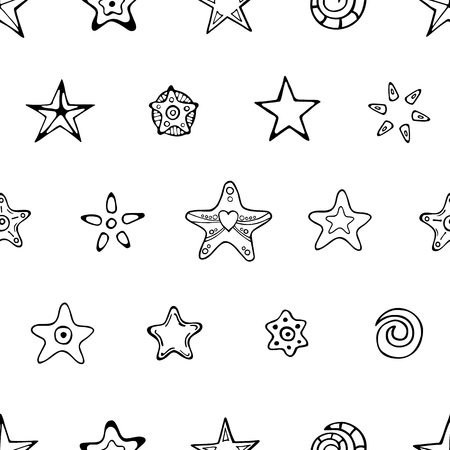 Seamless festive pattern with hand-drawn Christmas stars and decorative elements. Endless traditional texture for Christmas design, fabrics, greeting cards, wrappings. Vector monochrome illustration.
