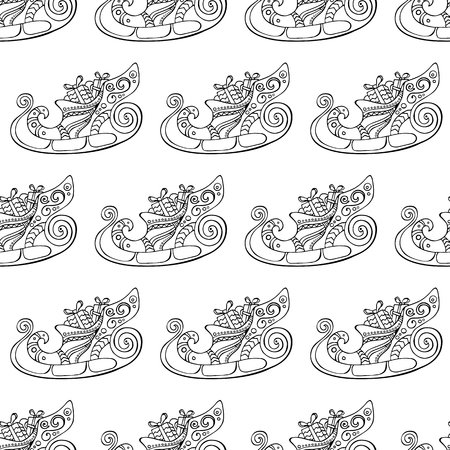 Seamless festive pattern with Christmas sleigh. Decorative elements. Endless traditional texture for Christmas design, fabrics, wallpapers, greeting cards, wrappings. Vector monochrome illustration.