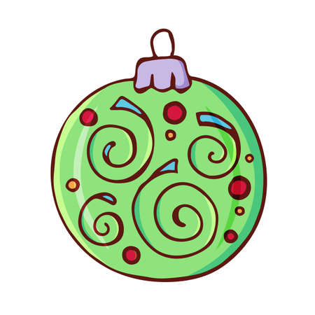 Christmas ball. Traditional festive element for christmas decoration, design, greeting cards and invitations. Isolated on white background. Vintage style. Vector color hand drawn illustration.
