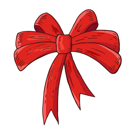 Red bow. Ribbon. Festive element for christmas decoration, design. Isolated on white background. Vintage style. Vector color hand drawn illustration. Ilustrace