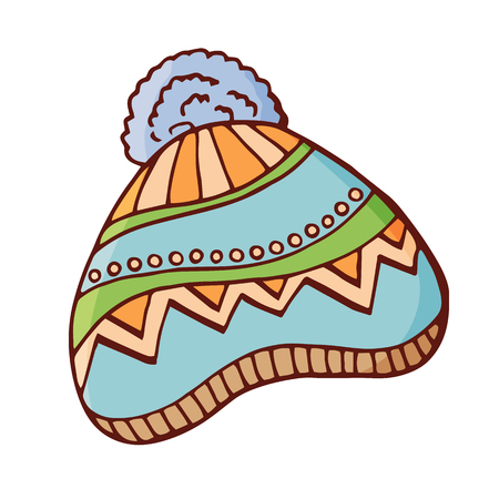 Winter knitted hat with pompon. Woolen hat with a big fluffy pompom. Doodle style. Isolated on white background. Vector color hand drawn illustration.
