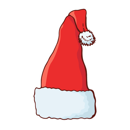 Christmas hat. Santa hat. Traditional festive symbol. Isolated on white background. Doodle style. Vector color hand drawn illustration. Ilustrace