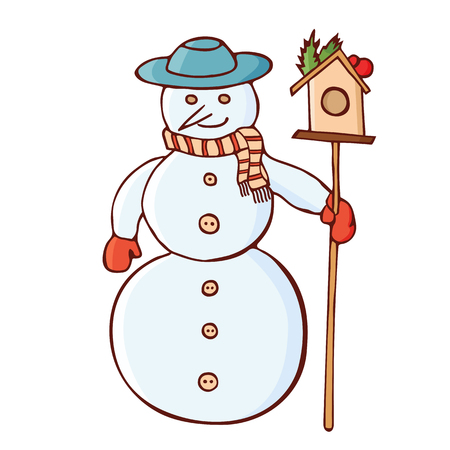 Christmas snowman in a hat with nesting box. Christmas traditional festive symbol. Isolated on white background. Vintage, doodle style. Vector color hand drawn illustration. Ilustrace