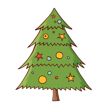 Christmas tree with toys. Traditional festive element for christmas decoration, design, greeting cards, invitations. Isolated on white background. Vintage style. Vector color hand drawn illustration.