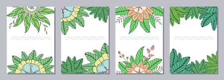 Set of isolated creative template cards, flyers, posters with doodle flowers. Floral decorations, leaves, flower ornaments. Hand drawn flowers, leaves, ornaments. Vector illustration. Ilustrace