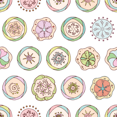Abstract seamless pattern in doodle style with flowers. Floral decorations, leaves, flower ornaments. Hand drawn flowers, leaves, ornaments. Vector color illustration. Ilustrace