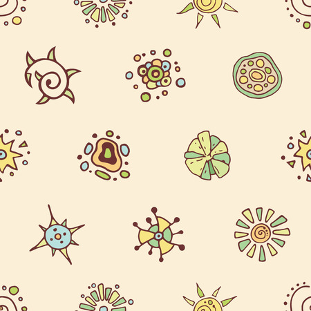 Abstract seamless pattern in doodle style with flower elements. Floral decoration. Hand drawn illustration. Vector color background.