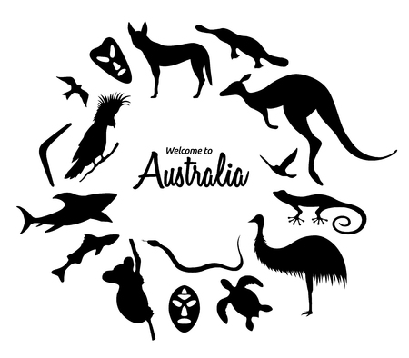 Set of Australian animals silhouettes. The nature of Australia. Isolated on white background. Black silhouette of  kangaroo, masks, shark, boomerang, koala, parrot. Hand drawn. Vector illustration.