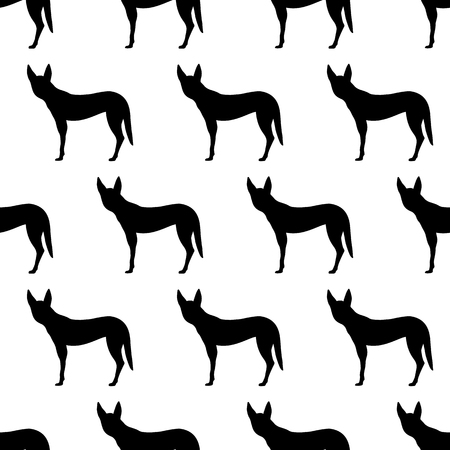 Seamless pattern with silhouettes of Dingo dog. Australian animal. Isolated on white background. Black silhouettes. Hand drawn. Vector illustration. Illustration