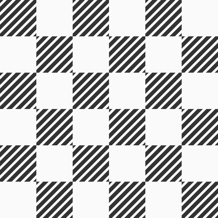 Abstract seamless pattern of striped squares. Modern stylish geometrical texture. Vector checkered monochrome background.