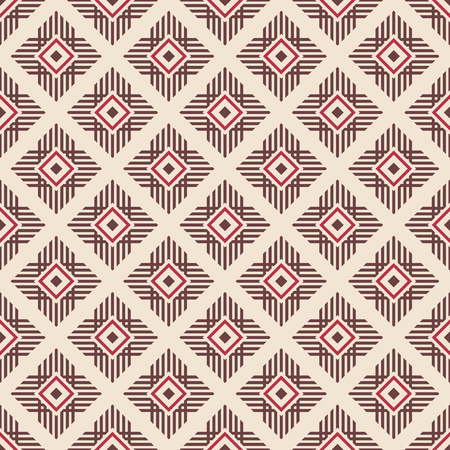 Abstract ethnic geometric pattern. Regularly repeating lines, rhombuses. Tribal decorative pattern. Vector color background.