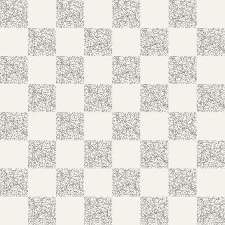 Motif abstrait harmonieux de carrés rayés remplis de lignes ordonnées au hasard. Texture élégante moderne. Ornement géométrique à carreaux. Fond de vecteur.