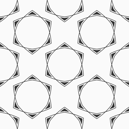 Abstract seamless pattern of six-pointed stars made of triangular shapes. Fashion design. Vector background. Illustration